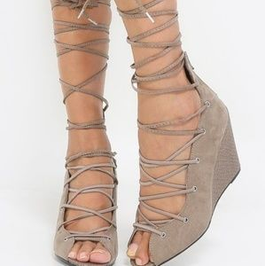 Qupid- Lace Up Wedges